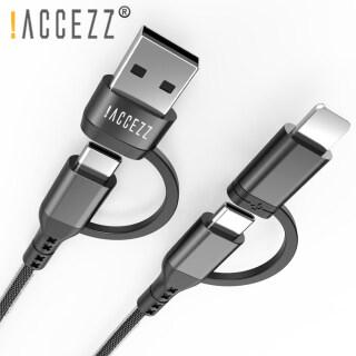 ACCEZZ Cáp PD 60W 4 Trong 1 Loại C Sang USB C Sạc Nhanh, Dành Cho IPhone 12 Samsung S21 Huawei P40 Sạc Dây Dữ Liệu Đa Năng Cho MacBook USB thumbnail