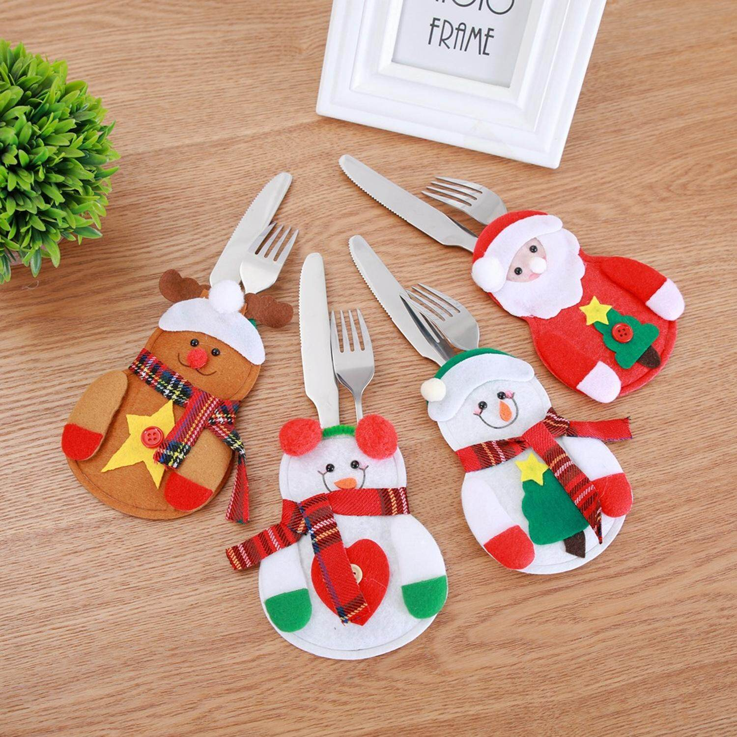 Cute Christmas Santa Holder Dinner Table Decor Cutlery Silverware Bag Pockets