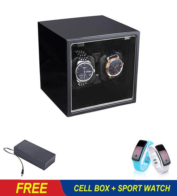 (Free Spot Watch+Cell Box) Automatic Watch Winder Watch Display Storage Organizer Watches Case Auto Silent Watch Winder Wristwatch Boxes for 2 Watches