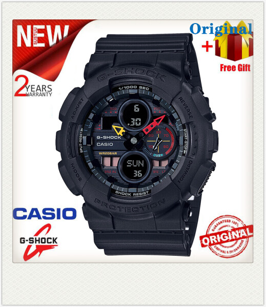 Original G Shock GA140 Men Sport Watch Dual Time Display 200M Water Resistant Shockproof and Waterproof World Time LED Auto Light Sports Wrist Watches with 2 Year Warranty GA-140BMC-1A (In Stock) Malaysia