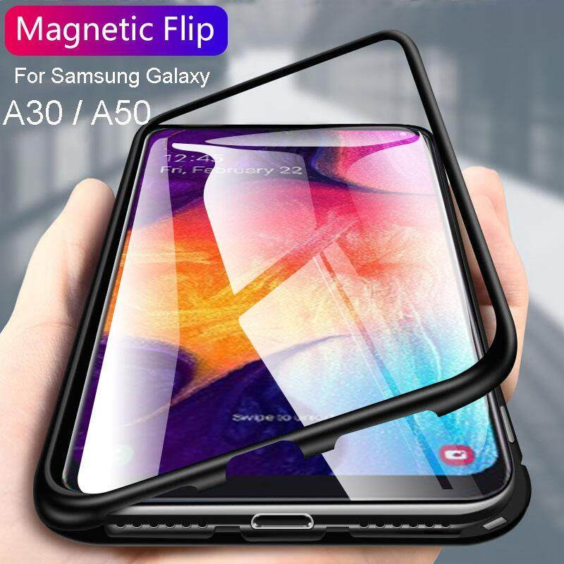 Giá For Samsung Galaxy A30/A50 Magnetic Metal Frame+TemperedGlass Backcover Phone Case