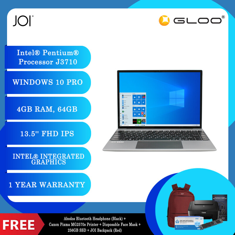 """JOI Book 200 Pro (Pentium J3710,4GB,64GB,13.5"""",W10Pro,GRY) + Abodos Bluetooth Headphone Black + Canon Pixma MG2570s Printer + Disposable 3 Layer Face Mask + 256GB SSD + JOI Backpack [Choose Color] Malaysia"""