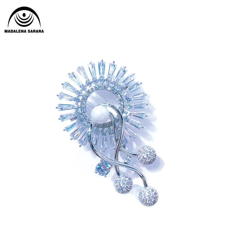 Aaaa Zircon And Crystal Inlaid Pearl Brooch Gol Plated Copper Sunflower Style Fine Brooch Pin For Women Jewelry.