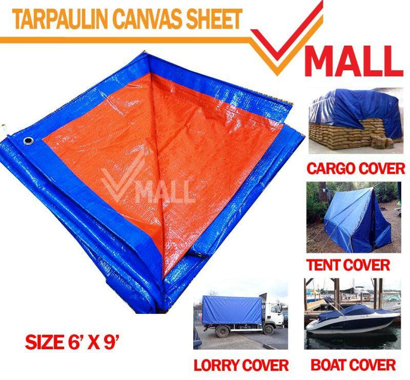 TARPAULIN WATERPROOF CANVAS SHEET 6 X 9 BLUE & ORANGE COLOR