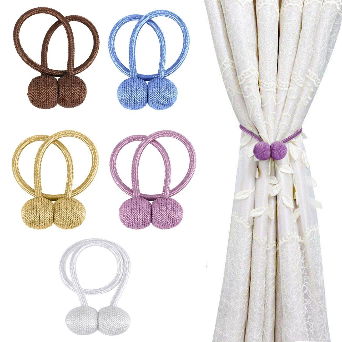 4Pcs Strong Magnetic Curtain Tiebacks Premium Strong Drape Ties Curtain Classic Window Home Office Decorative Drapes Holders for Office School Home