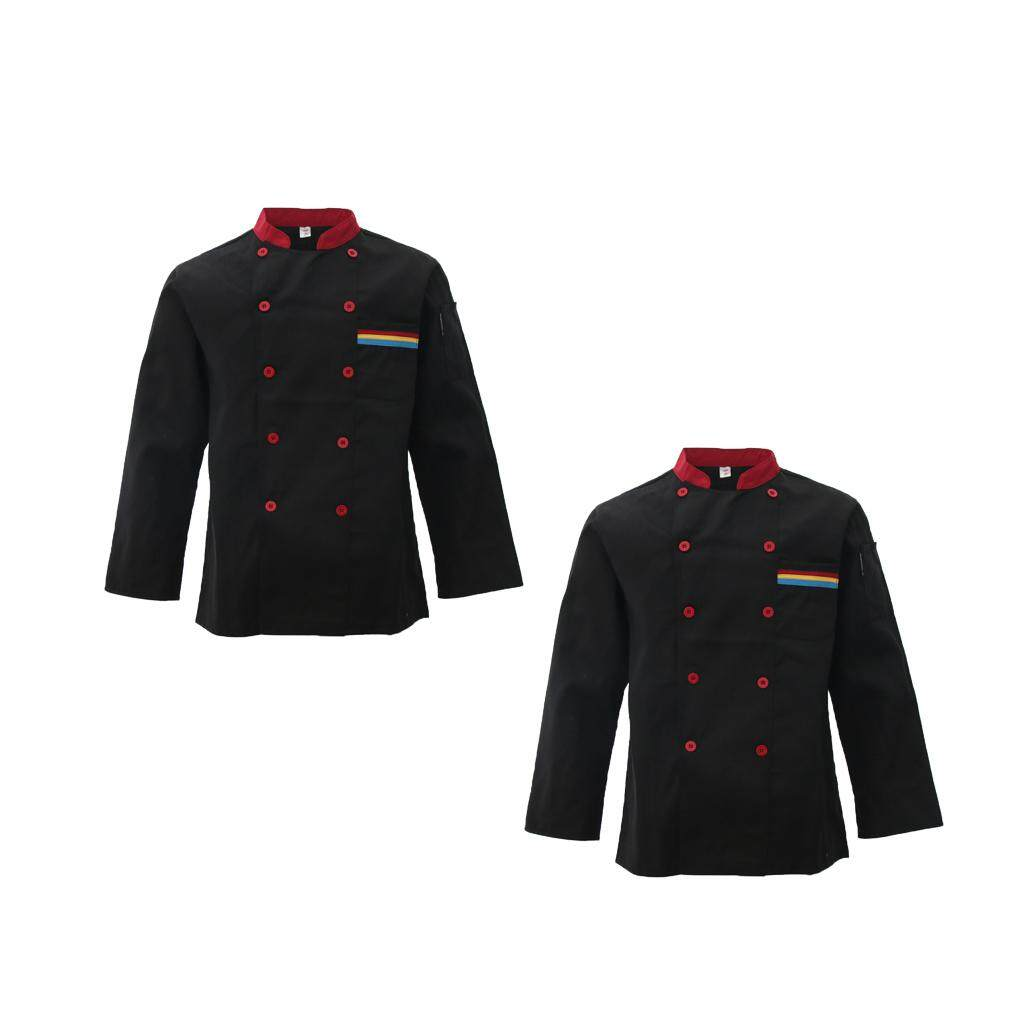 Miracle Shining 2Pcs Black L Jacket Long Sleeve Kichen Hotel Chef Uniform Work Wear