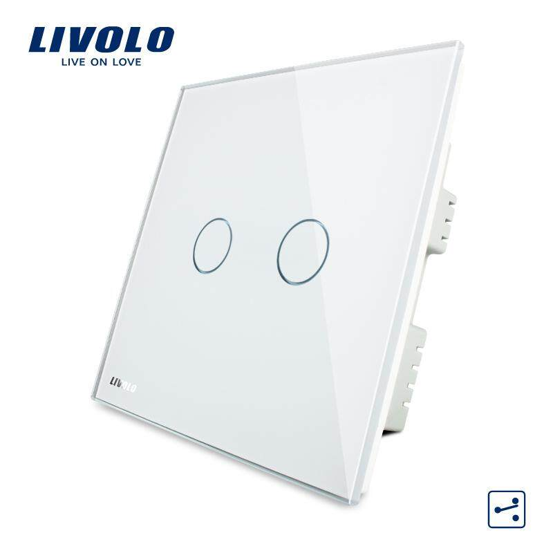 LIVOLO UK Standard 2 Gang 2Way wall light touch switch with led indicator , AC 220-250V ,3 Color