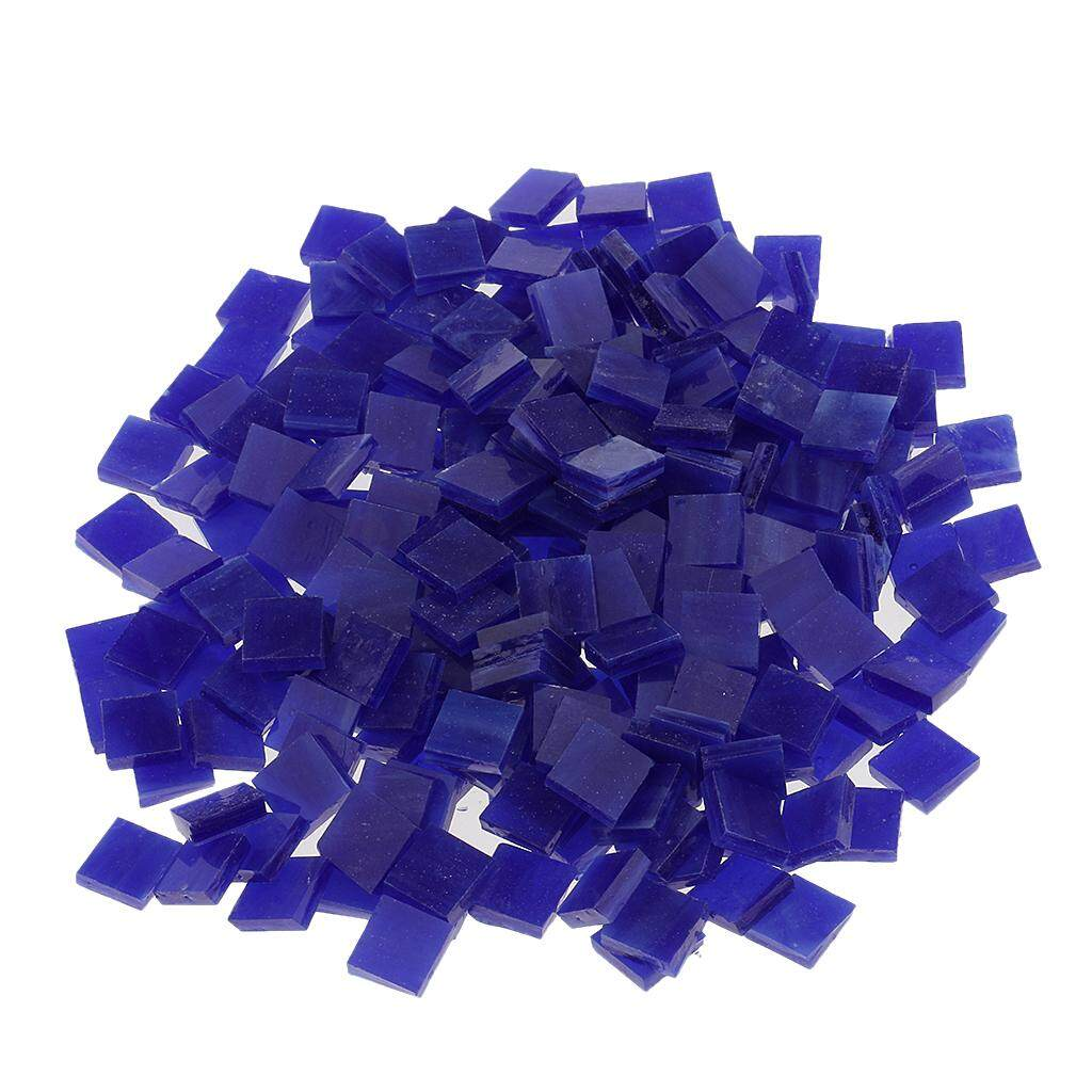 250x Square Glass Mosaic Tiles Pieces for Crafts Material 10x10mm Dark blue