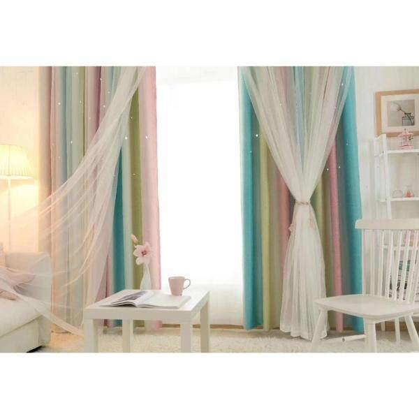 Dragonpad Color Gradient Double Layer Hollow-out Star Shading Curtain with Tulle Axis Body:Punch