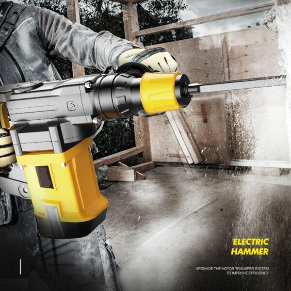 220V Multifunctional Rotary Hammer with 6pcs Accessories Electric Demolition Hammer Impact Drill Punch