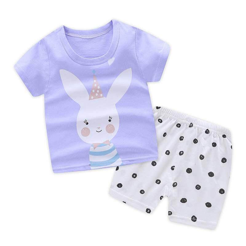 Summer Baby Boys Girls Short Sleeve Cartoon Print T-shirt Tops+Shorts 2pcs Casual Outfits Sets Baby Clothes Set