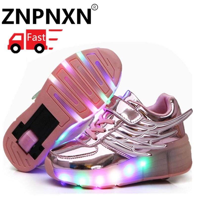 192470c0e ZNPNXN Kids Glowing Sneakers Sneakers With Wheels LED Light Up Roller  Skates Sport Luminous Lighted Shoes