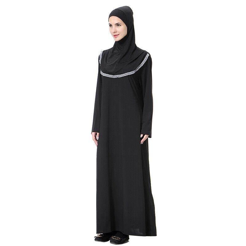 4e26ebae330e5 Lflii Womens Black Muslim Prayer Kaftan Maxi Dress + Hat Abaya Long Robes  Cocktail