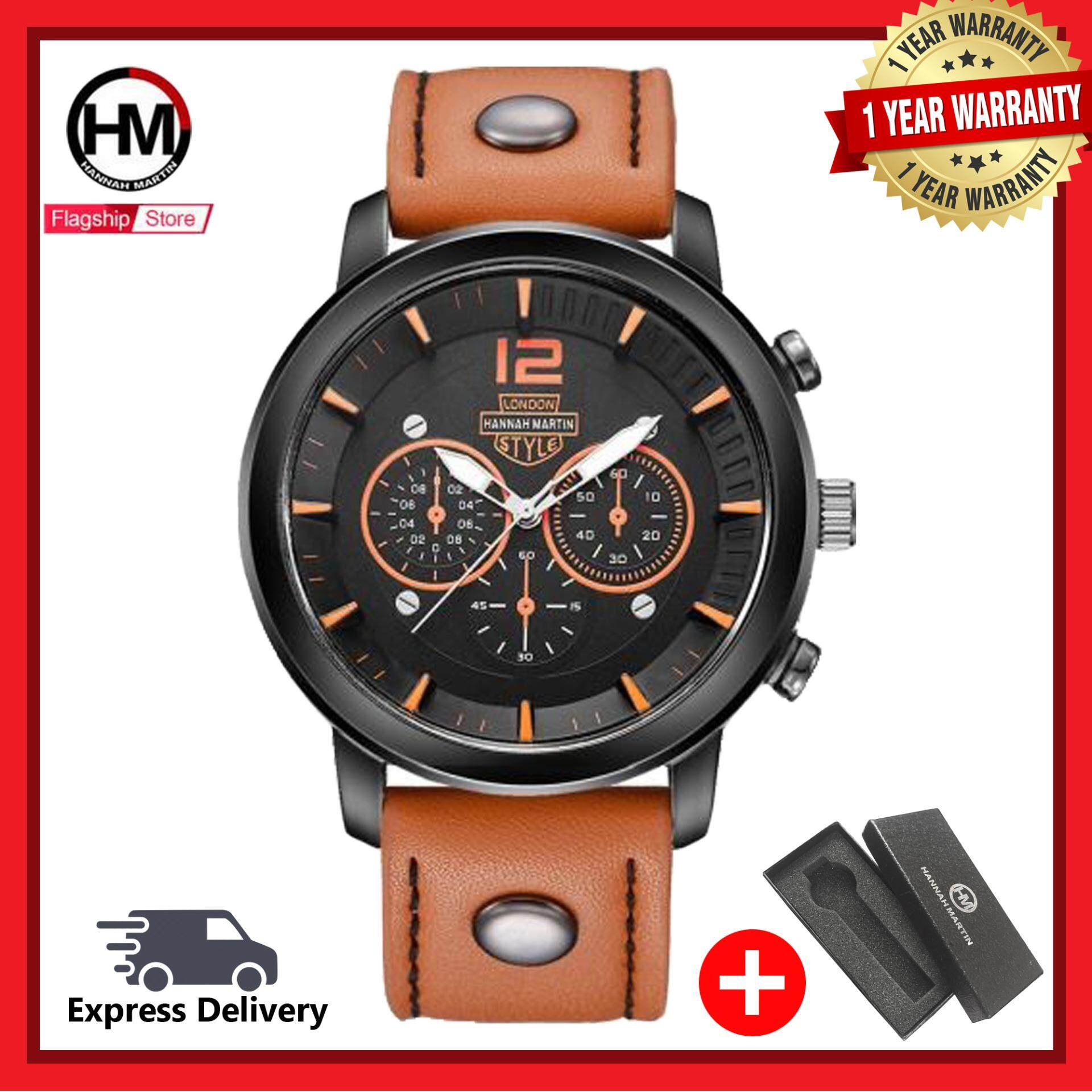 Hannah Martin WTH-467 Classic Quartz Analog Men Waterproof Sport Leather Watch Malaysia
