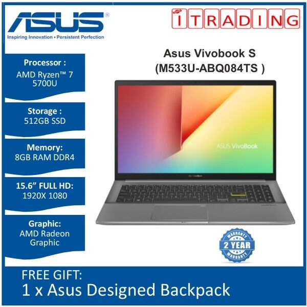 Asus Vivobook S M533U-ABQ084TS Laptop (Indie Black) | AMD Ryzen™ 7 5700U | 8GB DDR4 RAM | 512GB SSD | 2 YEARS Warranty Malaysia