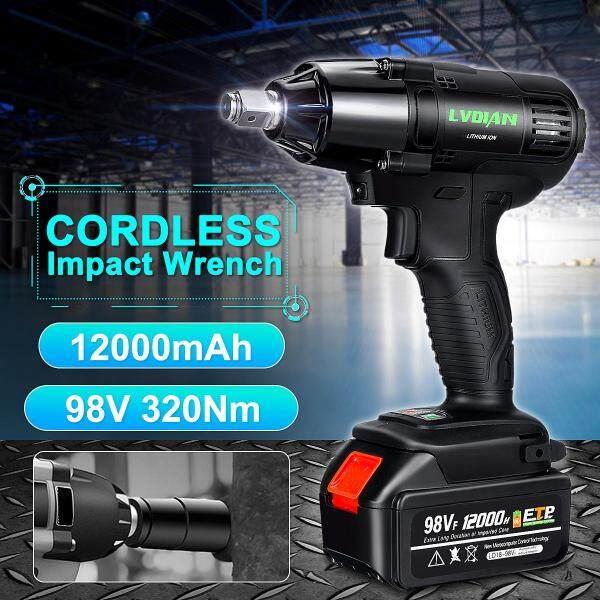 【Free Shipping】98VF 320NM 12000mAh 1/2 Cordless Impact Wrench Battery Drill Nut Sockets Set