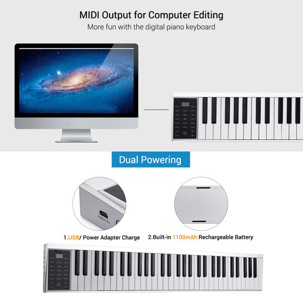 61 Keys Digital Electronic Piano Keyboard MIDI Output 128 Tones 128 Rhythms 14 Demo Songs Recording Programming Playback Tutorial with Sustain Pedal Built-in Stereo Speakers Headphone Speaker Output EU Malaysia