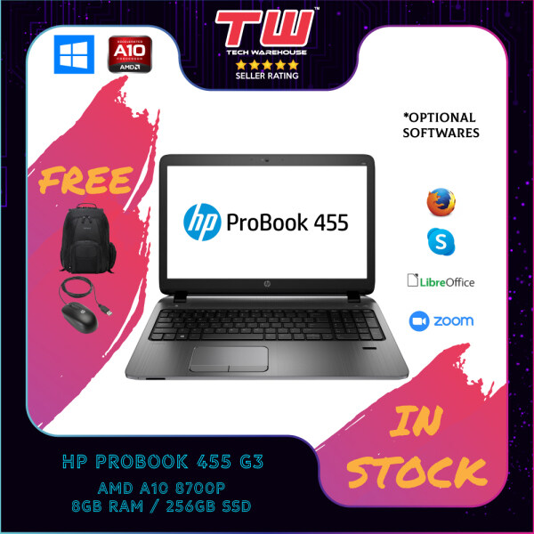 HP PROBOOK 455 G3 / AMD A10 / 8GB RAM / 256GB HDD / WINDOWS OS Malaysia