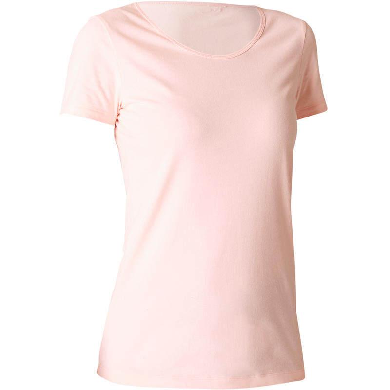 (((โปรโมชั่น))) เสื้อยืดผู้หญิงทรงมาตรฐานทำจากผ้าฝ้าย 100% สำหรับกายบริหารทั่วไปและพิลาทิสรุ่น 100 (สีชมพูอ่อน) ยืดกล้ามเนื้อ รัดกล้ามเนื้อ คลายกล้ามเนื้อ นวดกล้ามเนื้อ ยืดกล้ามเนื้อ ท่า ยืด กล้าม เนื้อ ออก กํา ลังกา ย ของแท้ 100% ส่งเร็ว.