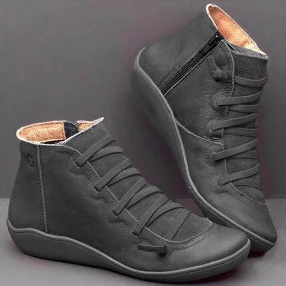 Ủng Da Cá Thu Vintage Phối Ren Nữ Giày Nữ Thoải Mái Gót Bằng Giày Dây Kéo Boot Ngắn Chất Lượng Cao Chính Hãng Giá Quá Tốt Phải Mua Ngay