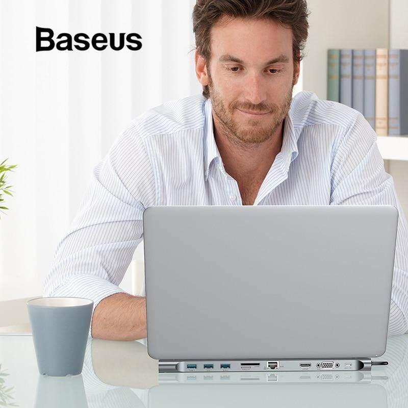 Baseus Multi 10in1 Usb C ประเภท C ถึง Hdmi Vga Rj45 Usb 3.0 ตัวแปลงฮับ Sd/tf การ์ดรีดเดอร์ Usb C อะแดปเตอร์สำหรับ Macbook Pro By Baseus..th.