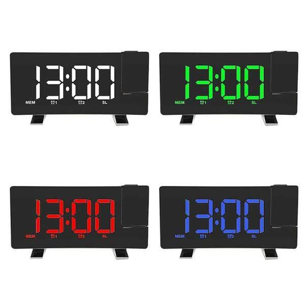 Báo Lại Chiếu Kỹ Thuật Số Sạc USB Wake Up FM LED Hiển Thị Đồng Hồ Báo Thức Màn Hình Cong bán chạy