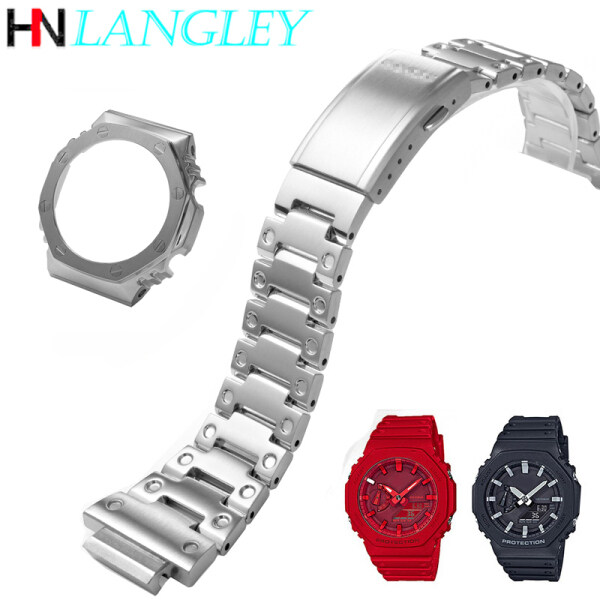 LANGLEY Watch Band Refit Remodel For GA-2100 Watch Band Strap Bezel and Case 316L Stainless Steel Metal Steel Belt With Tools Watchband Bracelet GA2100 Malaysia