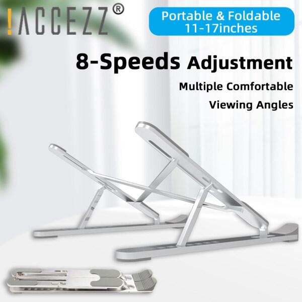 !ACCEZZ Foldable Laptop Stand Holder for Macbook Pro IPad Notebook Tablet Desktop Computer 8 Angles Adjustable Aluminum Ergonomic Foldable Portable Desktop Holder