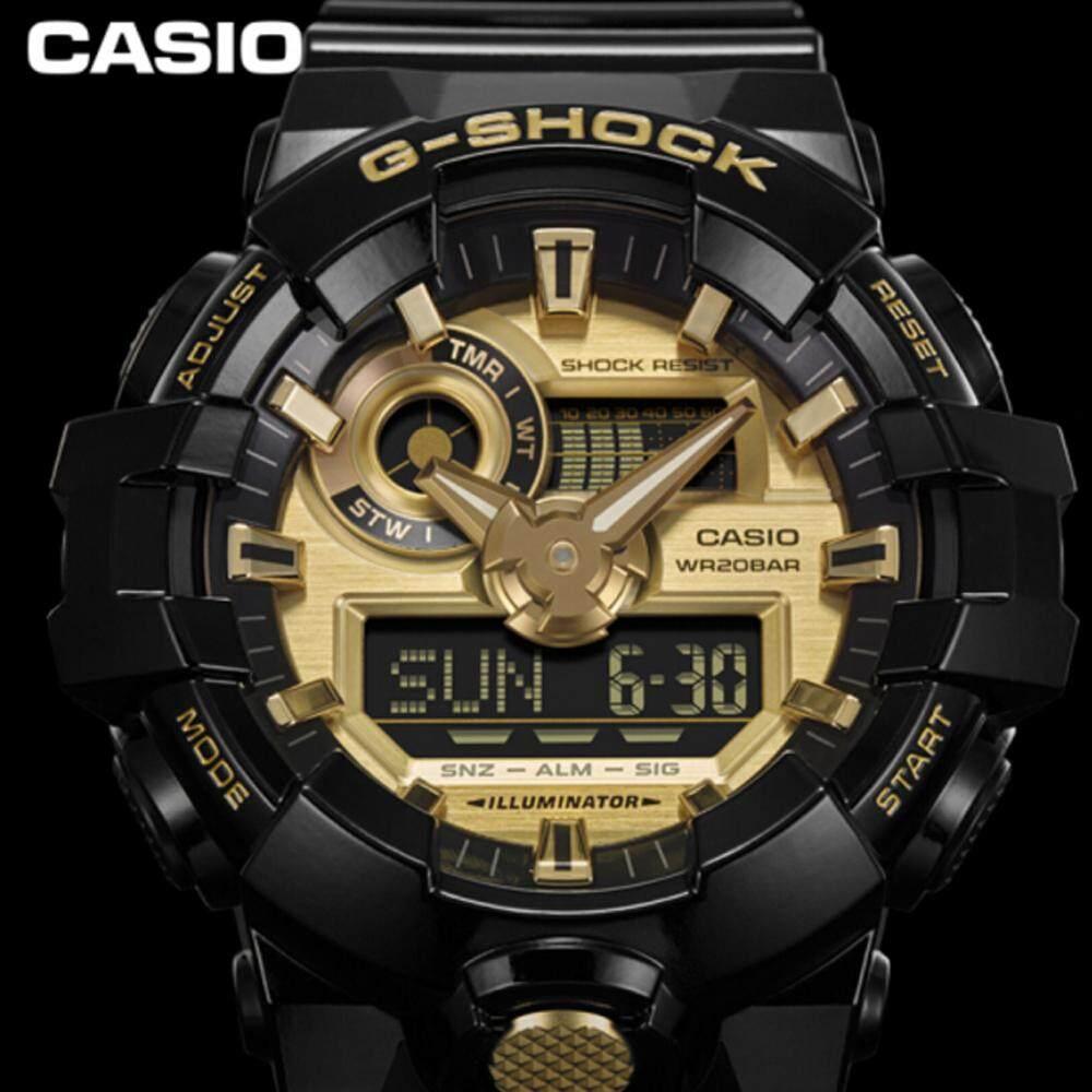 ยี่ห้อไหนดี  ระยอง 【 STOCK】Original _ Casio_G-Shock GA710 Duo W/เวลา 200M กันน้ำกันกระแทกและกันน้ำโลกนาฬิกากีฬาไฟแอลอีดีอัตโนมัติ Wist นาฬิกากีฬาสำหรับ MenBlack สีทอง GA-710G