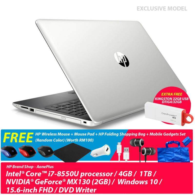 [Exclusive] HP 15-DA0441TX Notebook Natural Silver 5NZ78PA 15.6-Inch/ Intel i7/4GB/1TB/MX1302GB/WIn10+Free HP Wireless Mouse + Mouse Pad + HP Folding Shopping Bag + Mobile Gadgets Set (Worth RM100)+32GB USB Malaysia