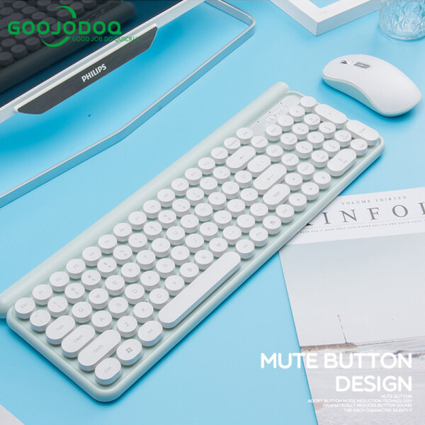 GOOJODOQ Wireless Keyboards And Mouse Set for Laptop Round Caps Retro Typewriter Portable Gamer for Windows Laptop PC