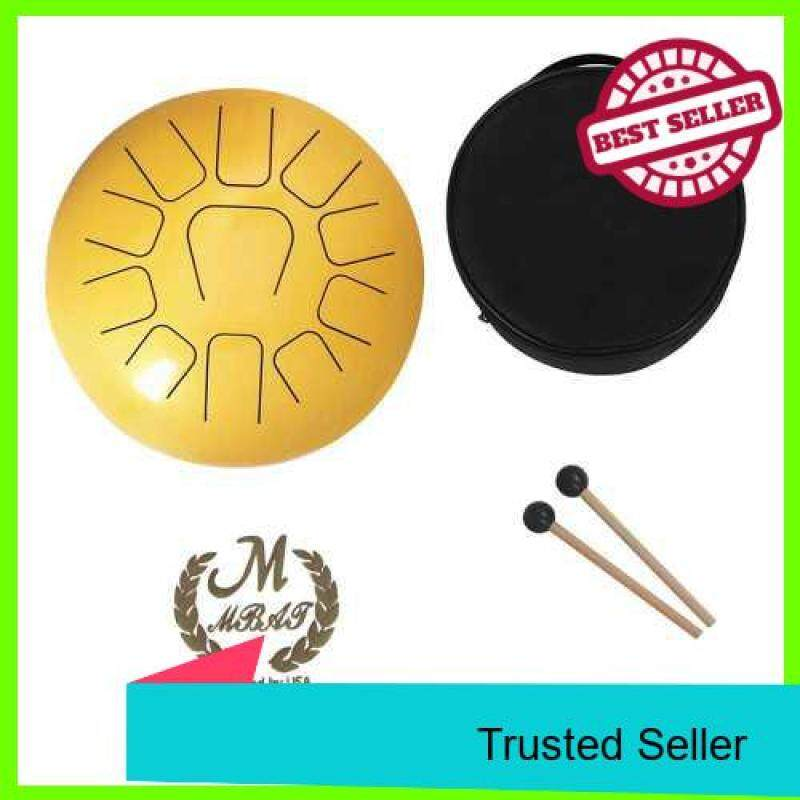 12 Inch Steel Tongue Drum 11-Tone Hand Pan Drum Stainless Steel Percussion Instrument with Drum Mallets Carry Bags Note Sticks (Gold) Malaysia