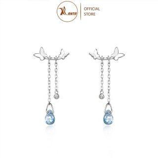 Bông Tai Bạc 925 Hình Bướm Thả Dài Đính Đá Pha Lê Xanh Phong Cách Hàn Quốc - ANTA Jewelry - ATJ7054B thumbnail
