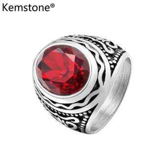 Kemstone แฟชั่นเพชรหยกหินโบราณแหวนหมั้นสำหรับผู้ชาย (21 มิลลิเมตรความกว้าง)