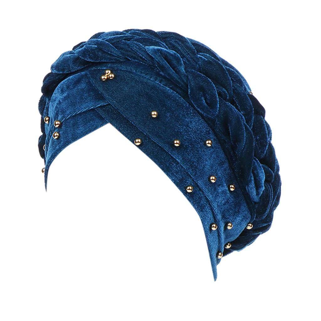 ผู้หญิง Beading อินเดียหมวกมุสลิม Chemo ผ้าคลุมผมไหมพรมหมวก By Lemononstore.