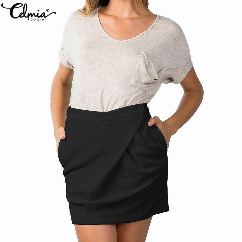 2279cfc53 Celmia Summer Womens Pleated Bodycon Mini Short Skirt High Waist Party  Dress Plus Size