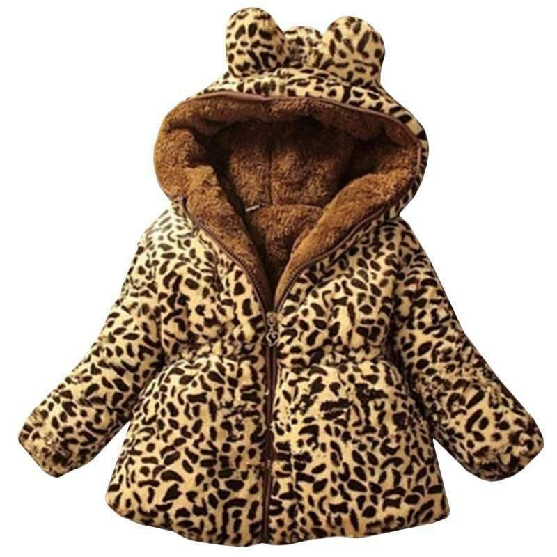 Giá bán Kids Girls Padded Coat Hooded Fleece Leopard Warm Winter Thick Jacket Outwear Adele