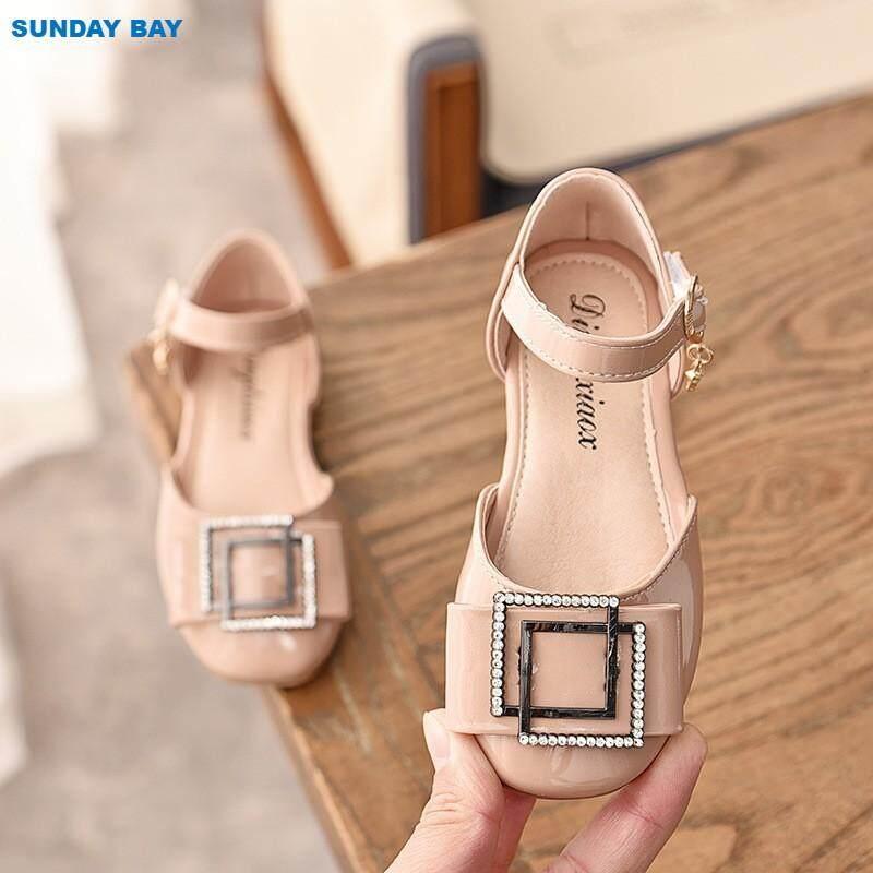 Giá bán Mùa xuân năm 2019 Mới Trẻ Em Nước Kim Cương Giày Đơn Nữ Hàn Quốc Giày Công Chúa Bé Gái Vẽ Phẳng-Đế Giày Bướm giày
