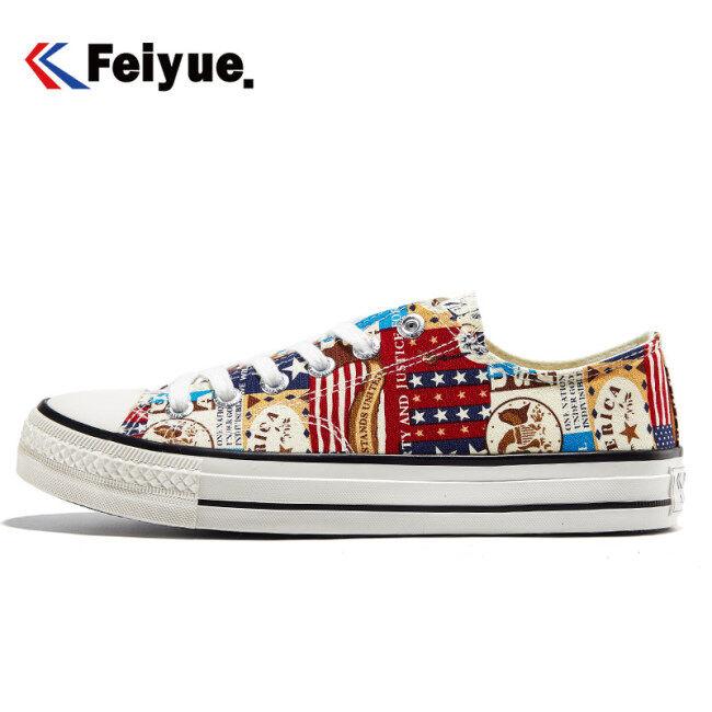 Feiyue Low-Top Giày Vải 2181 Căn Hộ Giản Dị Nam Nữ Giày Sáng Tạo Doodle 2 Màu Đàn Hồi Đế Giày Thời Trang Lưu Hóa giá rẻ