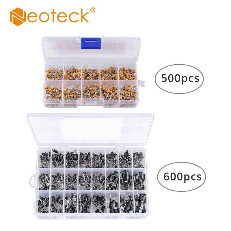 Neoteck 600Pcs Ceramic Capacitor Assortment Kit+500PCS Electrolytic Capacitor Assortment from 100 nF to 10 uF in a Box