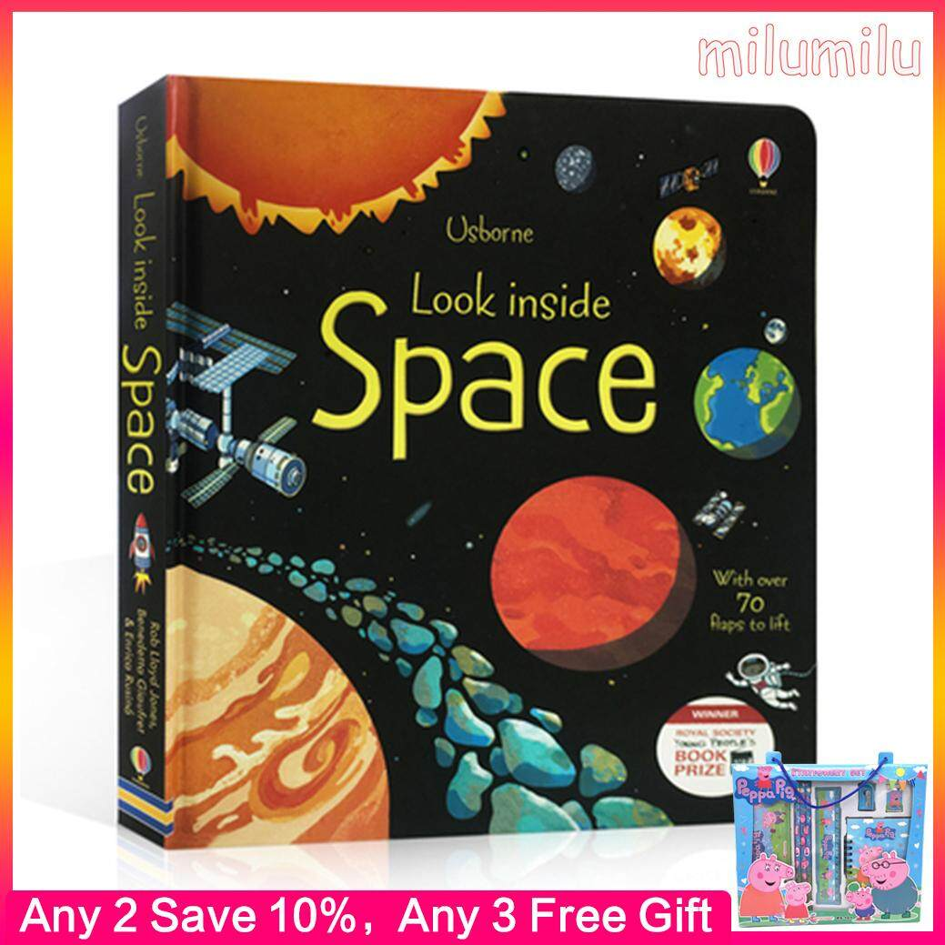 Usborne English 3D Usborne Look Inside Space Picture Book Education Kids Child With Over 70 Flaps To Lift Hard Cover