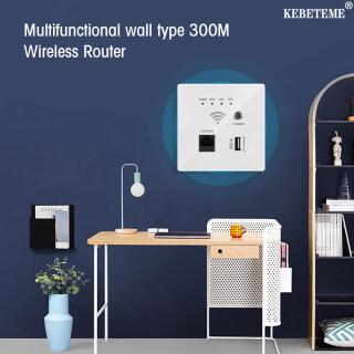 KEBETEME WIFI Router, Rơle AP 300Mbps 220V Bộ Mở Rộng WIFI Không Dây Thông Minh 2.4Ghz Tường Router Nhúng Bảng Điều Chỉnh, USB Ổ Cắm thumbnail