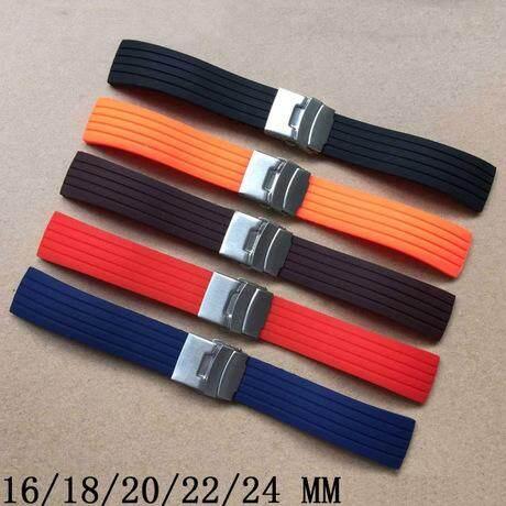 GFS Waterproof Soft Silicone Watch Strap Deployment Buckle Stripe Band 16-24mm 18mm (Coffee) Malaysia