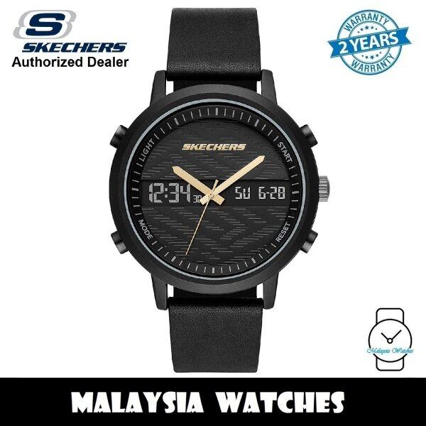 (OFFICIAL WARRANTY) Skechers SR5149 Mens Quartz Analog Digital Black Alloy Case Black Leather Strap Watch (2 Years Warranty) Malaysia