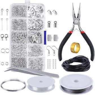 เครื่องประดับทำชุด Starter ชุดต่างหูสร้อยคอซ่อมเครื่องมือ DIY กล่องอุปกรณ์เสริมรวมกล่องอุปกรณ์ตกแต่ง-