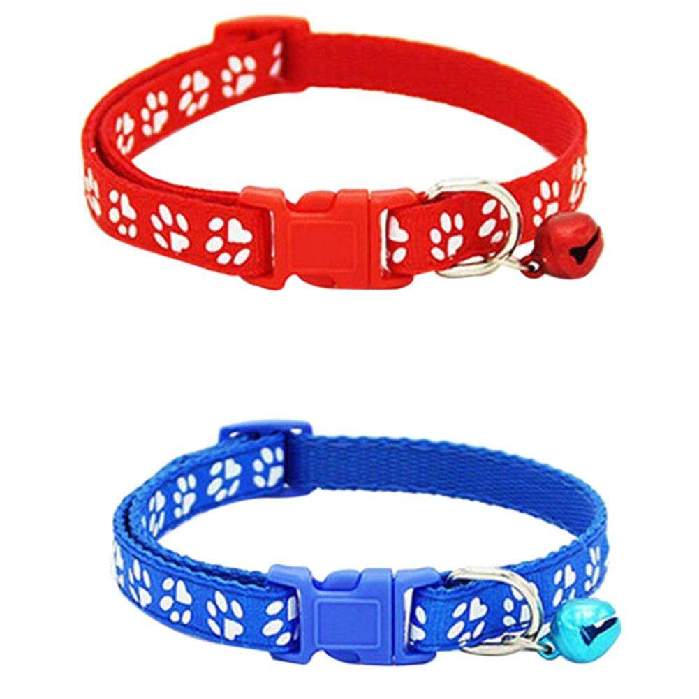 2 Pack Adjustable Cat Collar With Bell, Fashion Paw Print Design Pet Collar, Safety Quick Release Breakaway Collar For Cats By Dragonlee