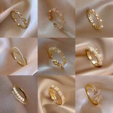 Nhẫn nữ đính đá + ngọc trai chất liệu hợp kim mạ vàng thiết kế tinh tế sang trọng phong cách Nhật Bản và Hàn Quốc dành cho nữ