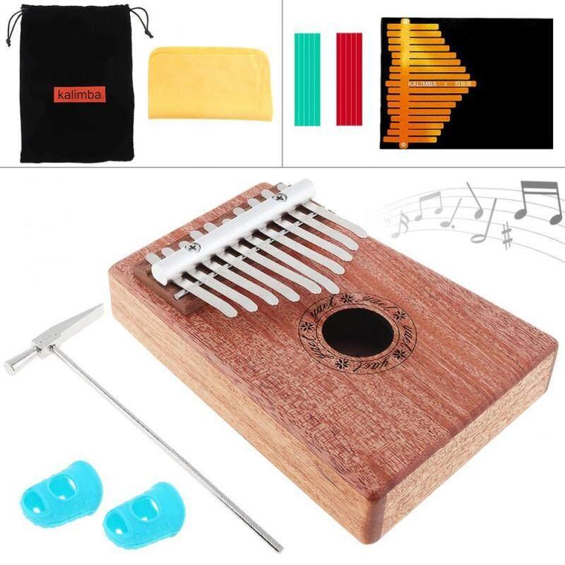 10 phím Kalimba Solid Mahogany Ngón Tay Cái Đàn Piano Mini Bàn Phím Nhạc Cụ với 6 Phụ Kiện