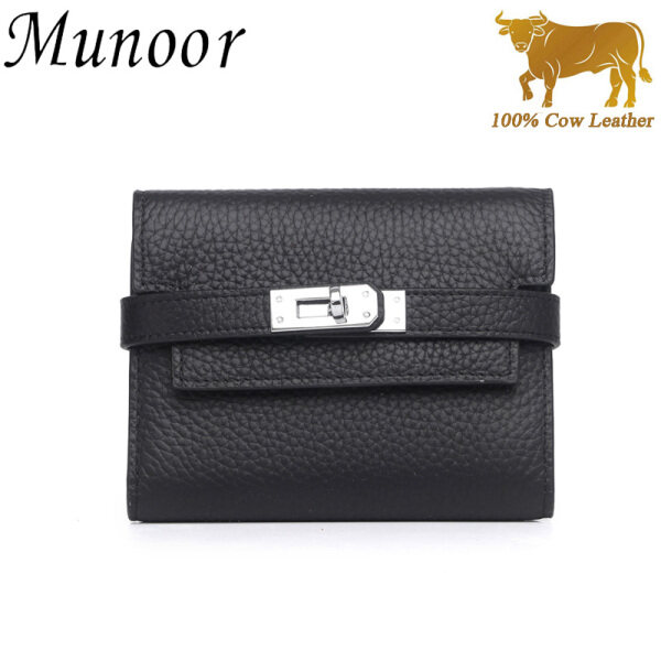 Munoor High Quality Italian Imported 100% Genuine Cow Leather Women Long Clutch Wallet Woman Purse