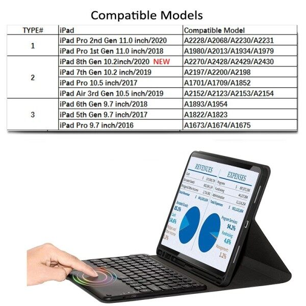 iPad Case with Mini Bluetooth Touchpad Function keyboard, Wireless USB Rechargeable Keyboard, for iPad Pro 10.5 / iPad Pro 9.7 / iPad 5th 6th 7th / iPad Air 3rd Generation
